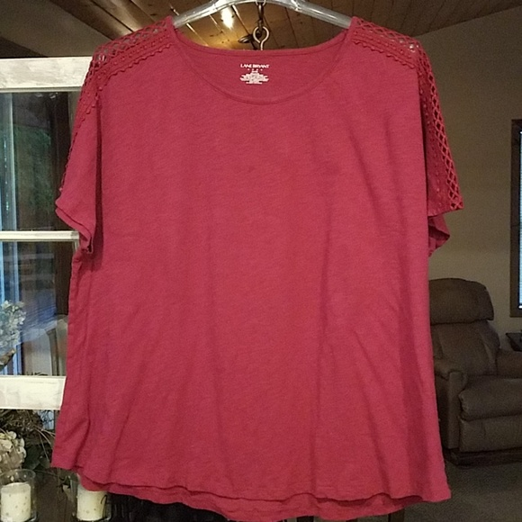 Lane Bryant Tops - Fuschia Tee with Crochet Shoulder Detail